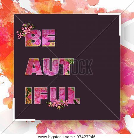 Stylish abstract frame with floral design decorated text on grungy colorful splash background.