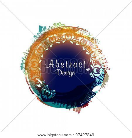 Creative colorful abstract design decorated frame on white background,