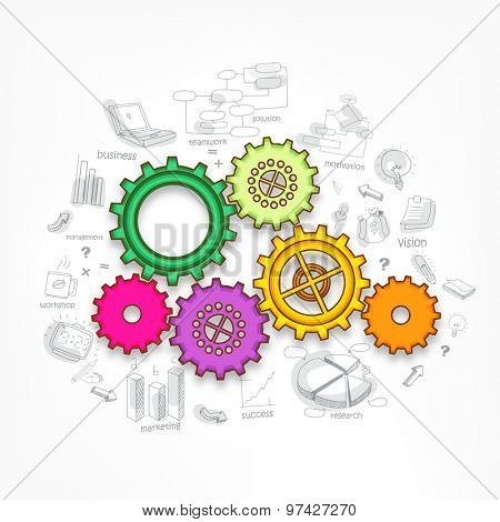 Stylish business infographic layout with colorful creative setting symbol on various business elements background.
