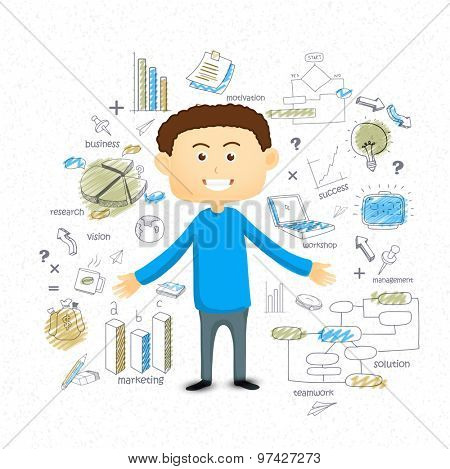 Illustration of young businessman with various colorful business infographic elements for your print, presentation and publication.