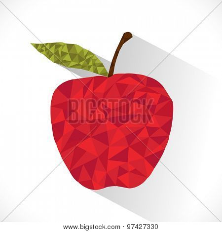 Creative polygonal abstract design of an apple with green leaf on shiny grey background.