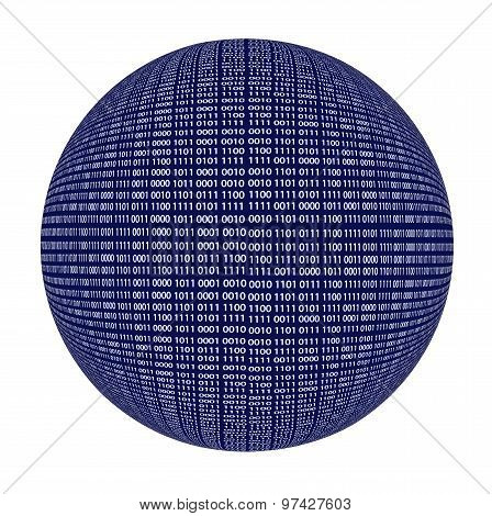 Binary code sphere isolated over white background