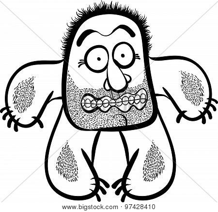 Shocked cartoon monster with stubble, black and white lines vector illustration.