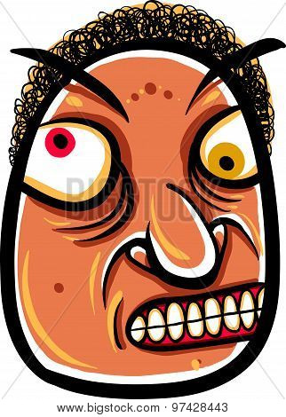Wierd cartoon face, absolute crazy numskull portrait, vector illustration.
