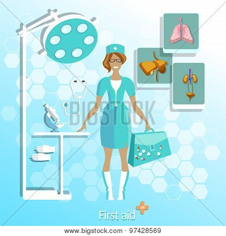Doctor, Medical, Beautiful Nurse, Analysis, Research, Microscope, vector