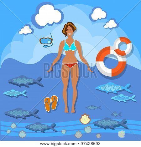 Beautiful Girl Beach, Smile Woman, Summer, Vacation, Sea, vector illustration