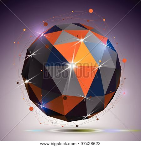 Technology spherical polished object with lines mesh. 3d colorful shiny complicated engineering