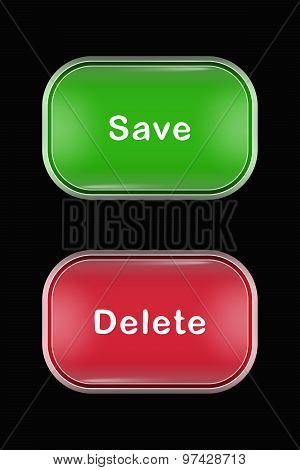 Modern Glass Buttons Save Delete