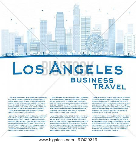 Outline Los Angeles Skyline with Blue Buildings and copy space. Business travel concept. Vector illustration