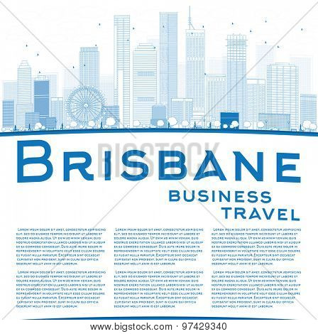 Outline Brisbane skyline with blue building and copy space. Business travel concept. Vector illustration