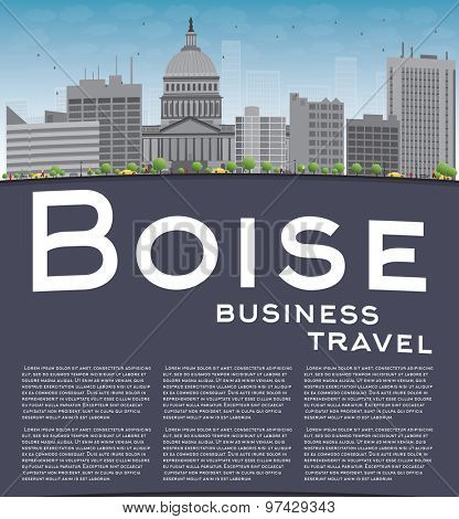 Boise Skyline with Grey Building, Blue Sky and copy space. Business travel concept. Vector Illustration