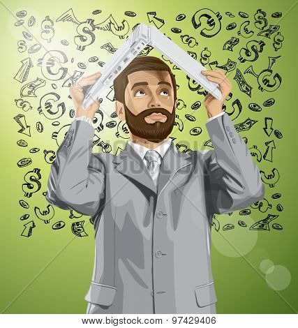 Vector business man with beard hides under the laptop in his hands against money sketch