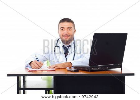 Smiling Doctor Man In Office