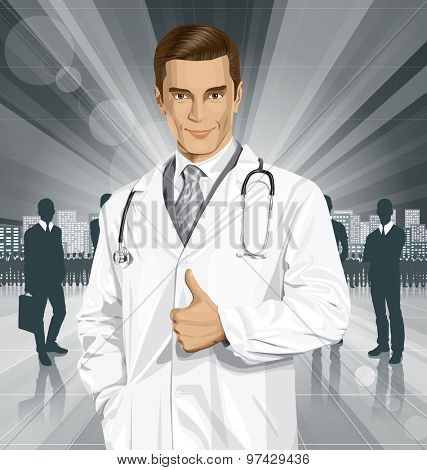 Vector doctor man with stethoscope shows well done