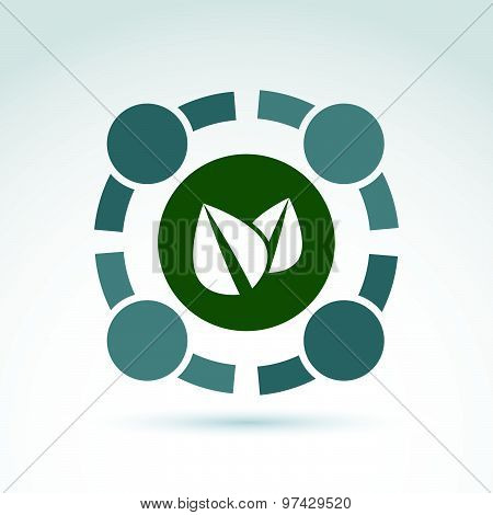 Green eco conceptual symbol, ecology association sign, abstract teamwork emblem. Vector round icon