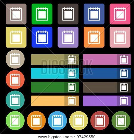 Notepad Icon Sign. Set From Twenty Seven Multicolored Flat Buttons. Vector