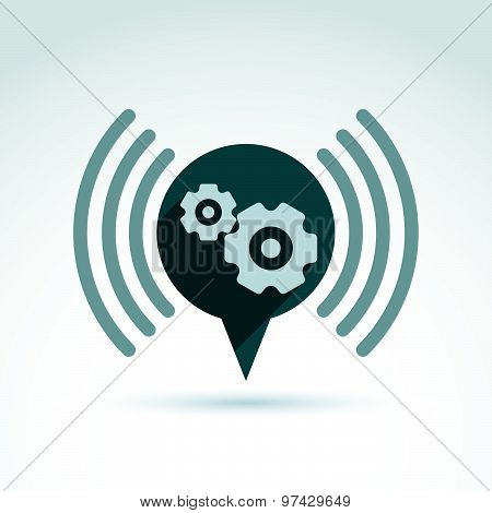 Gears and cogs system theme icon, vector conceptual stylish symbol for your design.
