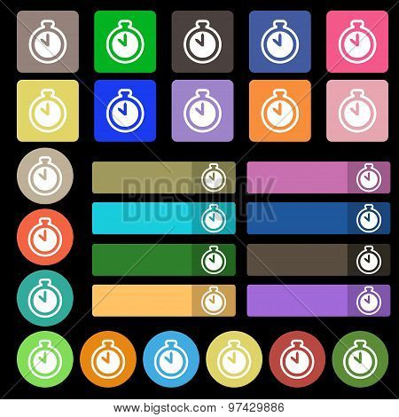 The Stopwatch Icon Sign. Set From Twenty Seven Multicolored Flat Buttons. Vector
