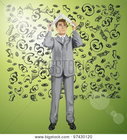 Vector business man hides under the laptop in his hands against money sketch