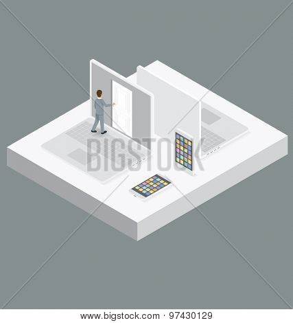 Startup Concept. Door to the knowledge. Vector 3d flat isometric with businessman is opening the door to big business
