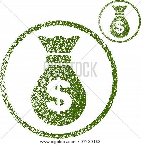 Money bag vector icon isolated on white background with sketch lined hand drawn texture.