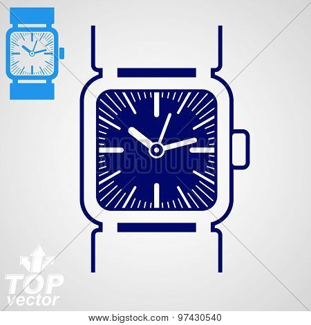 Vector classic wristwatch illustration, elegant detailed quartz watch with dial and an hour hand.