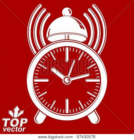 Elegant alarm clock vector 3d illustration with podcast sign, classic wake up ticker. Graphic retro