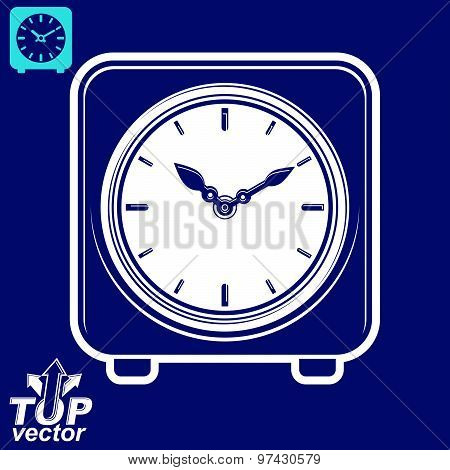 3d vector square stylized wall clock, includes invert version. Time idea classic perspective symbol,