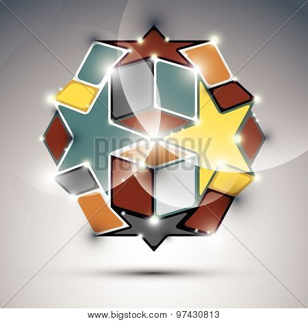 Abstract 3D gold shiny sphere with sparkles, metal festive orb created from triangles, eps10.