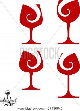 Beautiful vector sophisticated wine goblets, alcohol theme illustrations set. Stylized art wineglass