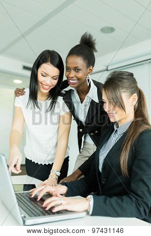 Businesswomen Exchanging Thoughts In A Nice Office Environment