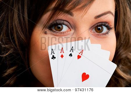 Young Woman With Cards