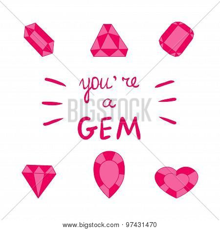 Ruby gemstone vector Pink jewels collection Inspirational quote Motivational poster words