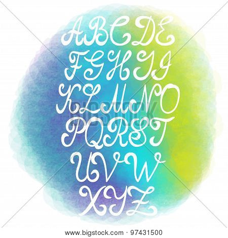 Decorative typeset font Hand written letters Font alphabet vector Elegant alphabet on bright waterco