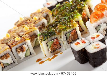 Sushi Set over White Background