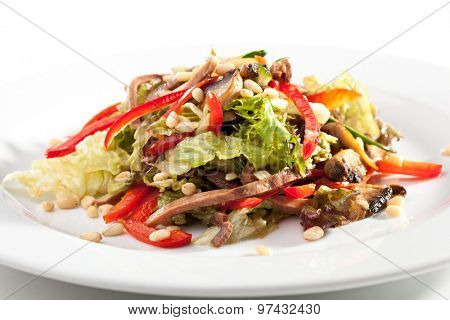 Salad with Beef Tongue and Vegetables