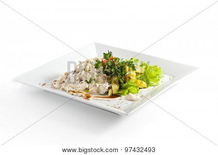 Fried Potato on Fresh Salad Leaf with Mushrooms