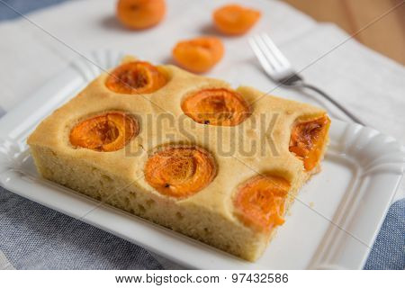 Slice of fresh apricot sponge cake