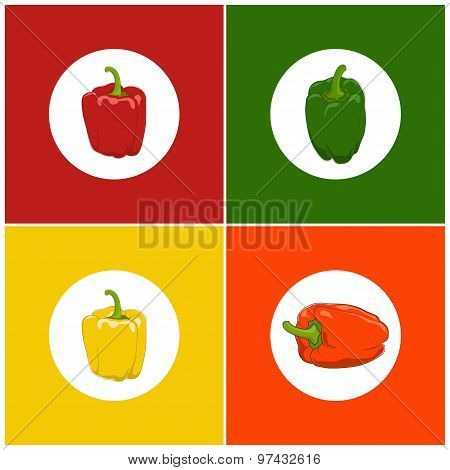 Set Of  Icons Pepper