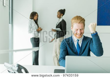 Successful Businesman Being Happy For Achieving His Goals