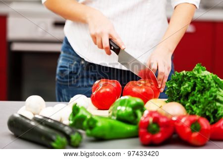 Young Woman Making Salad