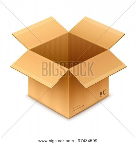open box cardboard package isolated on transparent white background - eps10 vector illustration