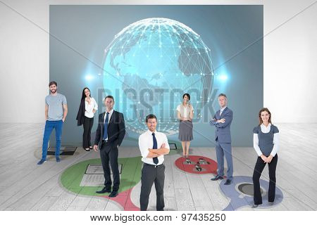 Business team against room with futuristic picture of earth