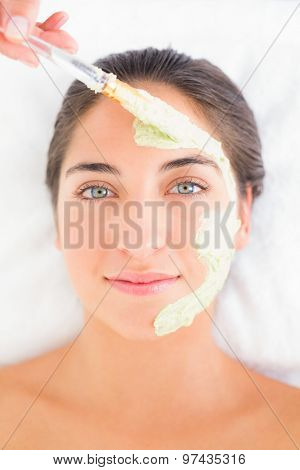 Beautiful brunette getting a facial treatment at the health spa
