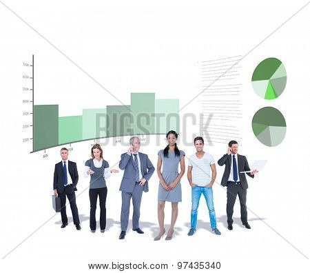 Business team against business interface with graphs and data