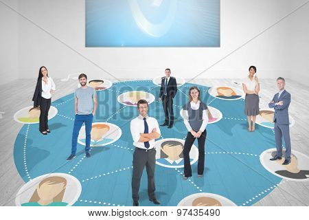 Business team against white room with blue picture arrow