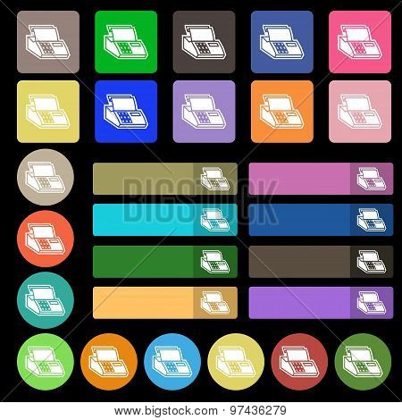 Cash Register Machine Icon Sign. Set From Twenty Seven Multicolored Flat Buttons. Vector