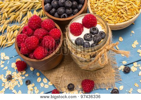 Oat, Oatmeal And Fresh Fruits