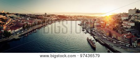Panorama of the city of Porto and the river of Douro at sunset. Portugal