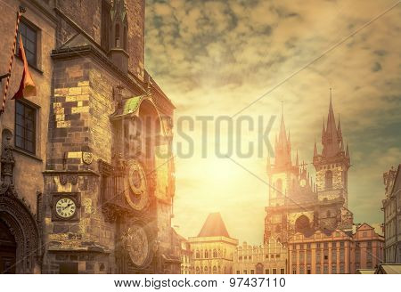 One of the famous popular travel place in world - Prague under sunlight.